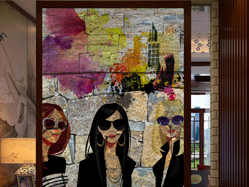 怀旧墙壁剪影手绘美女商场服装工装玄关