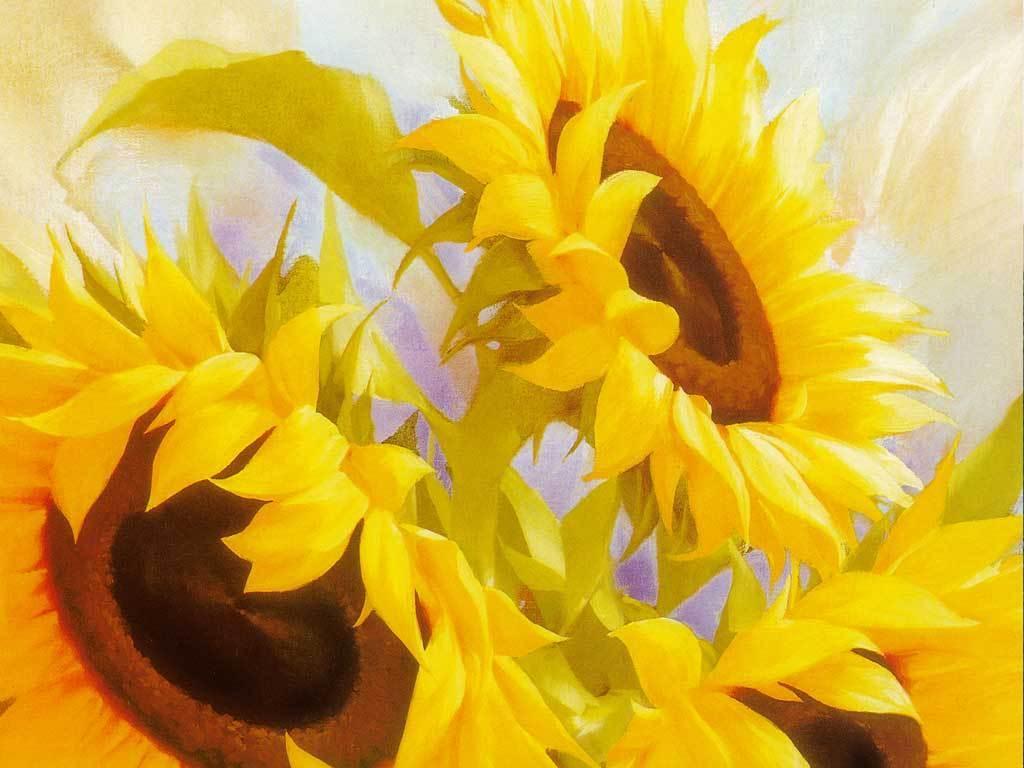 手绘向日葵装饰玄关背景墙