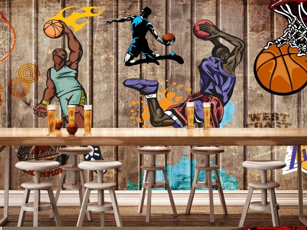 房篮球馆体育馆俱乐部球星乔丹科比球队俱乐部运动涂鸦木板篮球背景