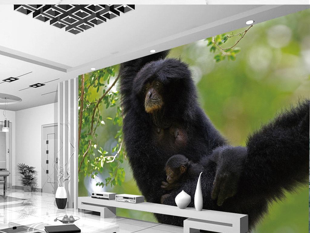 高清小清新猴子母子野生动物园背景墙