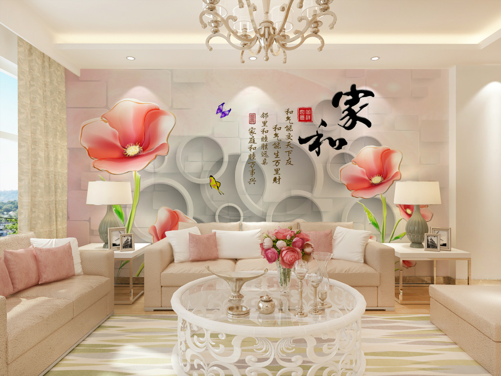 3d立体小花(图片编号:15763428)_现代简约电视背景墙