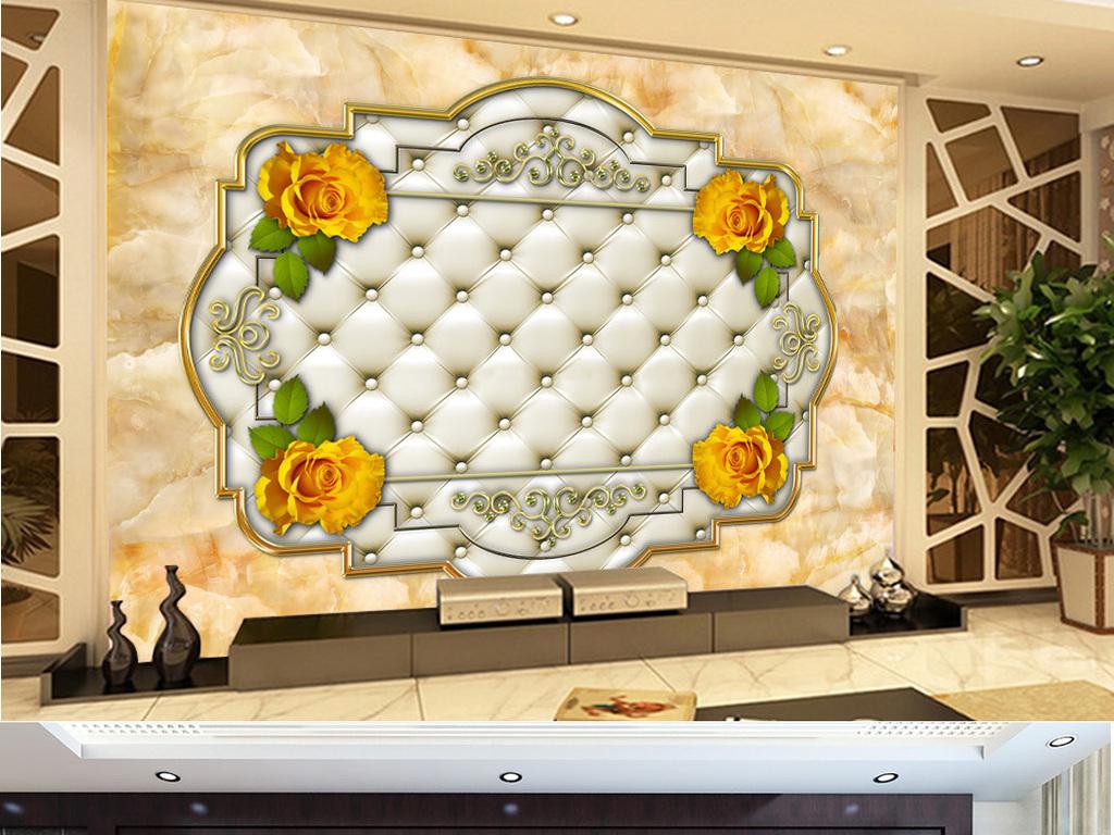 时尚欧式玫瑰花软包大理石电视背景墙画