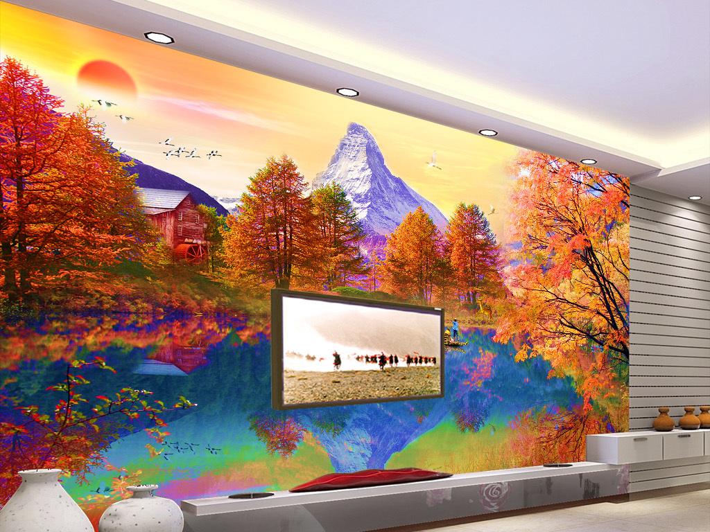 欧式油画山水风景电视背景墙家和万事兴