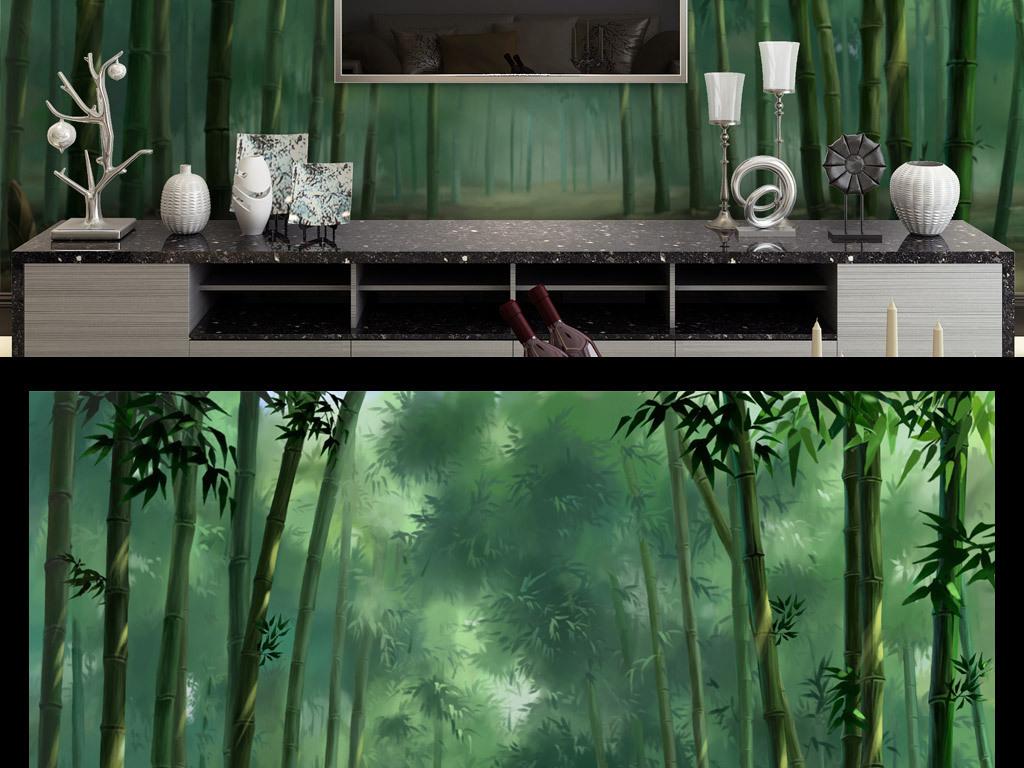 背景墙|装饰画 电视背景墙 田园背景墙 > 手绘竹林背景墙  版权图片