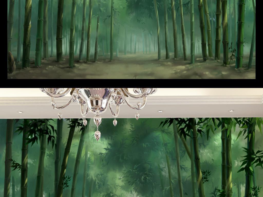 手绘竹林背景墙