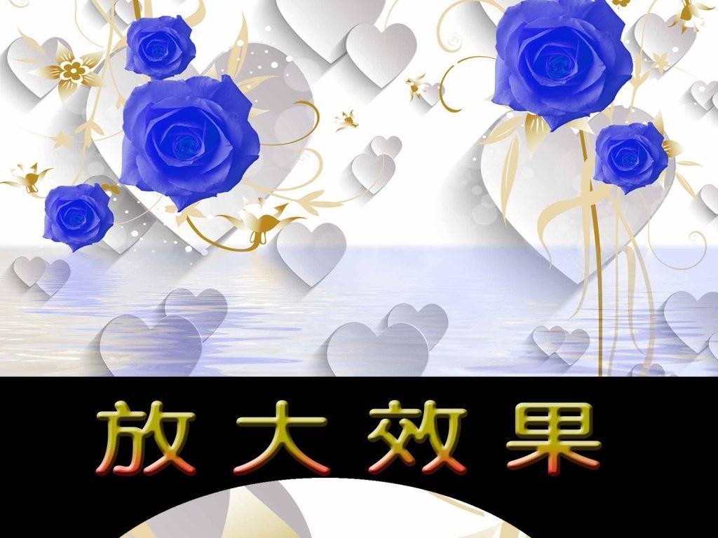 背景珠宝背景2016棋牌室背景墙国画手绘背景手绘玫瑰客厅蓝玫瑰蓝玫瑰