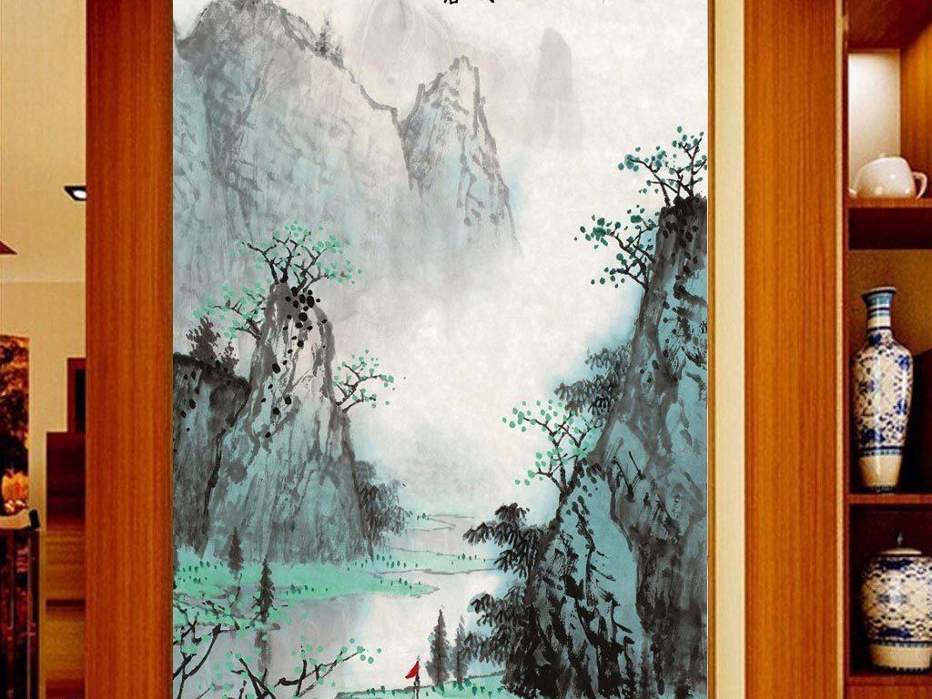 山水水墨中式玄关背景墙图片