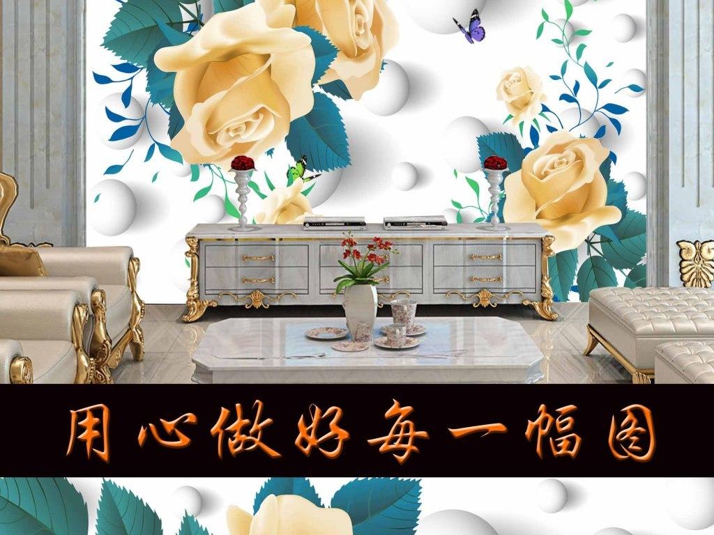 2016新款手绘花朵客厅背景墙图片设计素材_高清模板(.