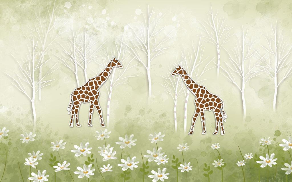手绘电视背景墙长颈鹿建筑树林松树林树林背景树林