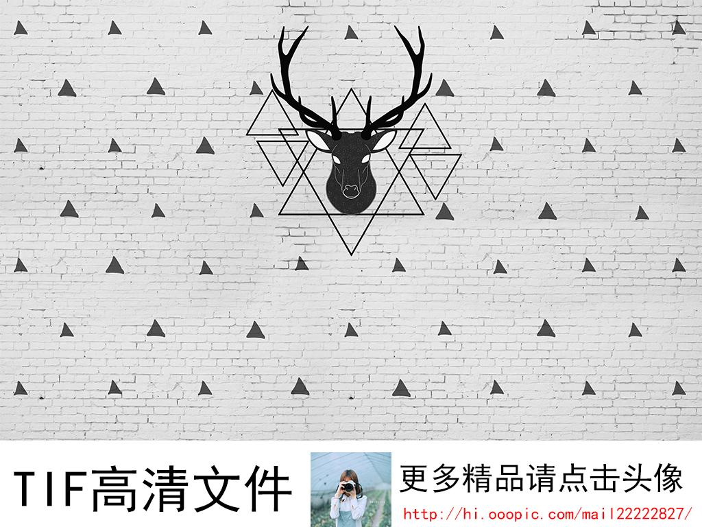 麋鹿手绘高清黑白