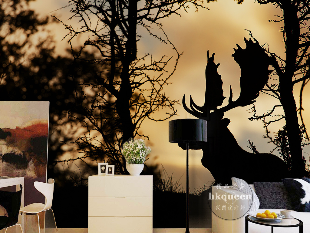 北欧简约时尚光晕树林麋鹿剪影风景背景墙