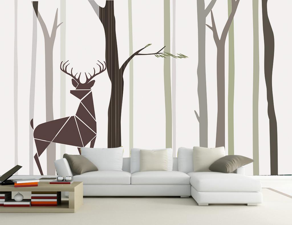 背景墙|装饰画 电视背景墙 手绘电视背景墙 > 北欧简约树林树干麋鹿