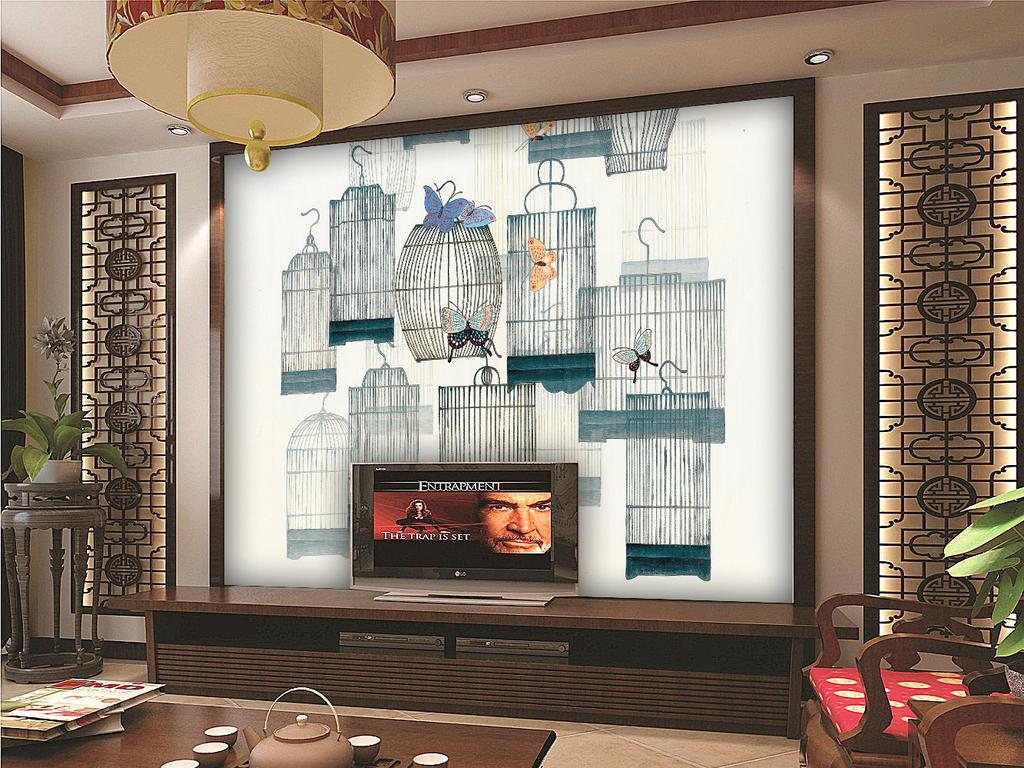 高清新中式花鸟电视背景墙(图片编号:15765960)_手绘