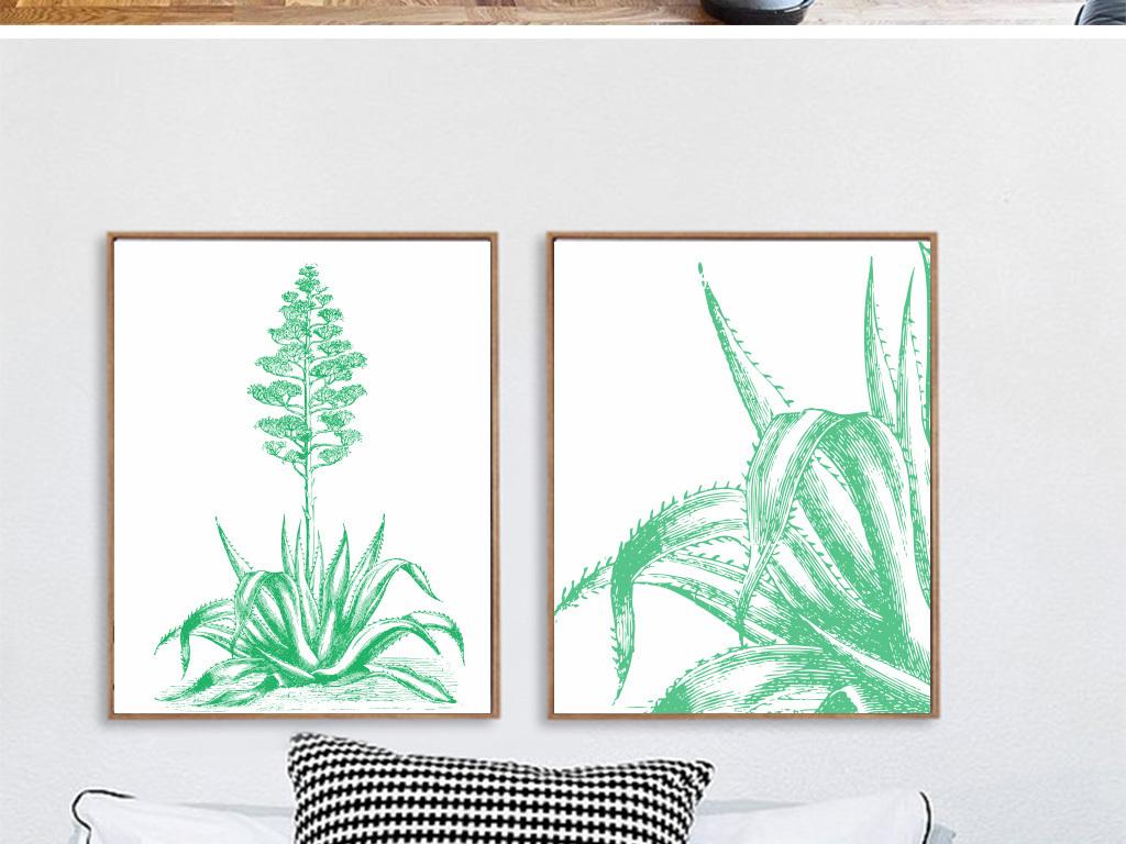 北欧简约黑白手绘线条植物无框画