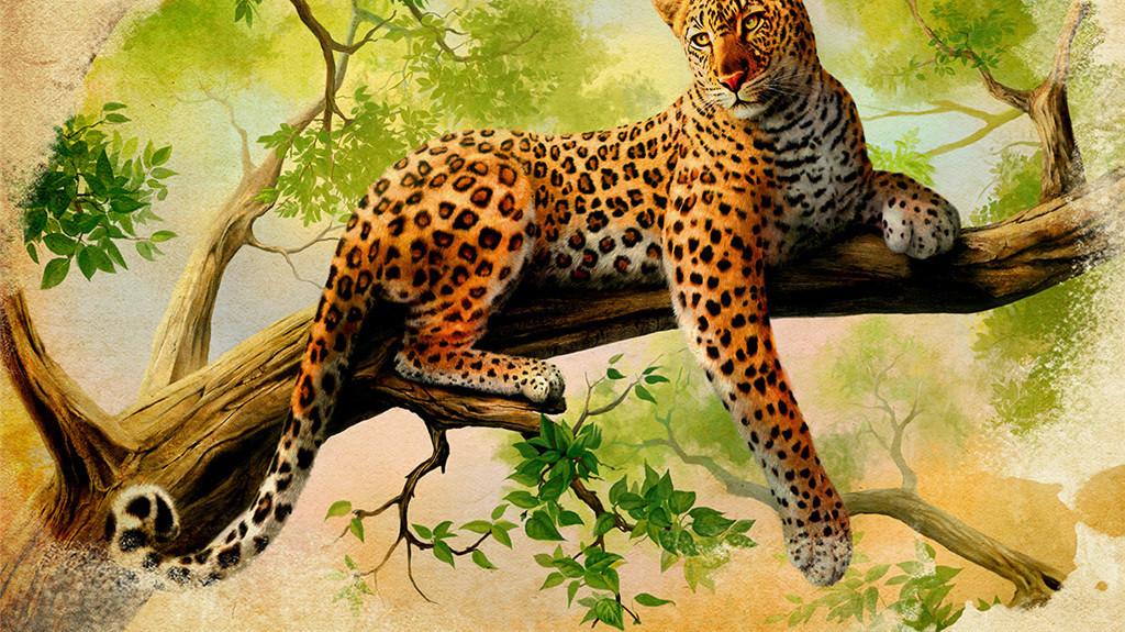 生物世界野生动物手绘背景电视背景电视豹子手绘电视卡通猎豹