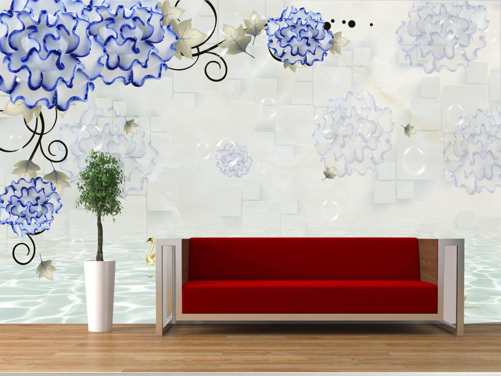 玉雕花朵3d立体电视背景墙