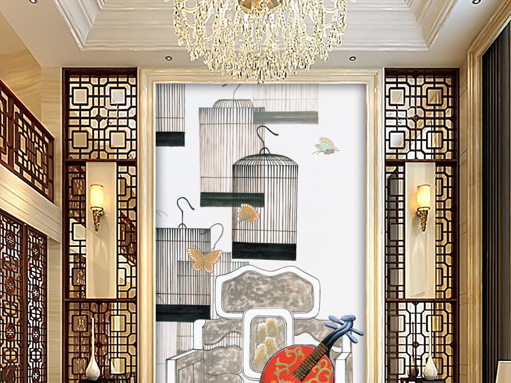 高清新中式玄关背景墙图片
