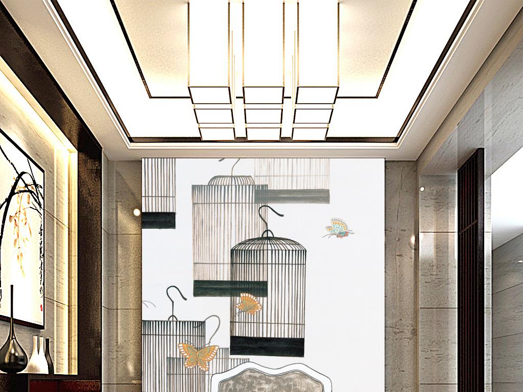 中式                                  手绘油画酒店家装玄关背景墙