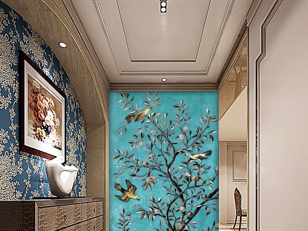 现代简欧手绘花鸟发财树酒店玄关