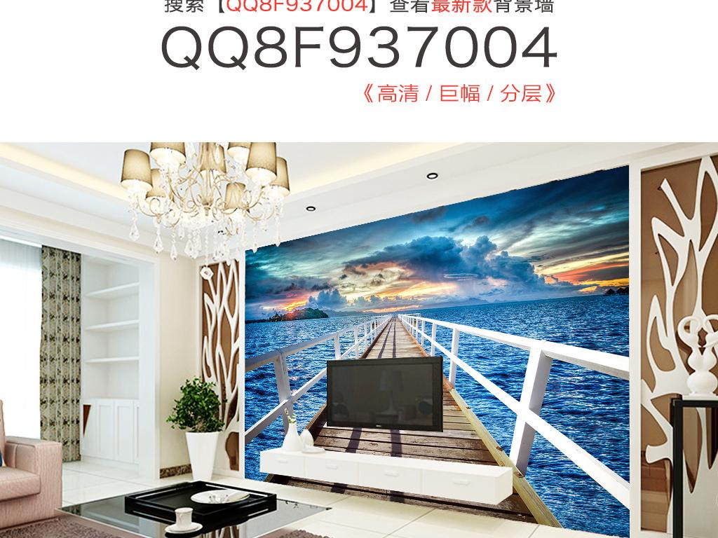 木板桥海景背景墙(图片编号:15766922)