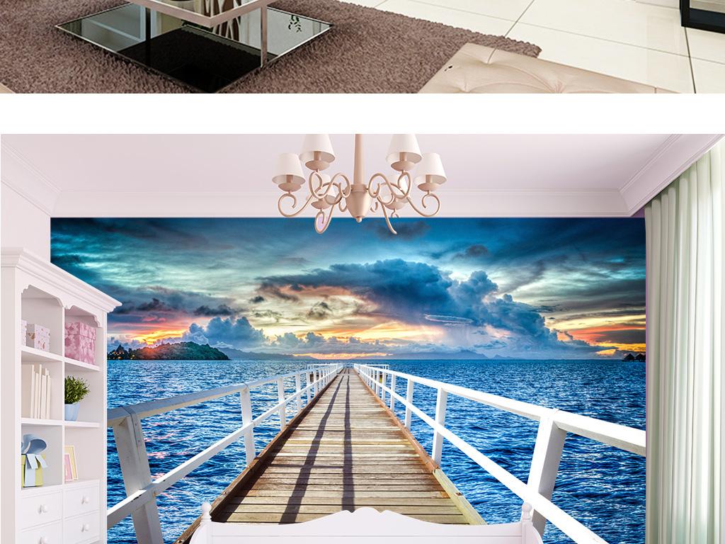 白色木桥海上木桥浪漫桥段壁纸海景风景木桥图片木桥