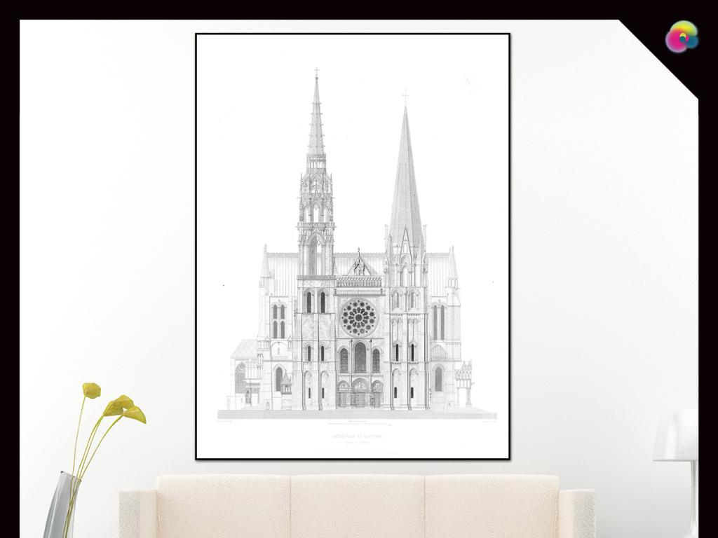 现代简约欧洲手绘古建筑酒店挂画装饰画