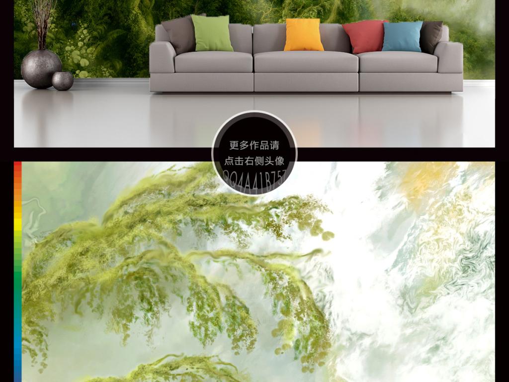 客厅无框画中国风国画手绘家和万事兴月亮