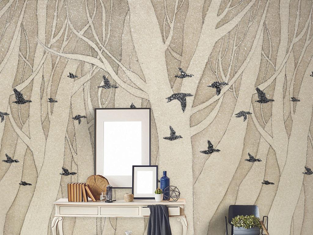 全层复古森林背景墙手绘白桦林装饰画树林全层复古森林北欧背景墙手绘