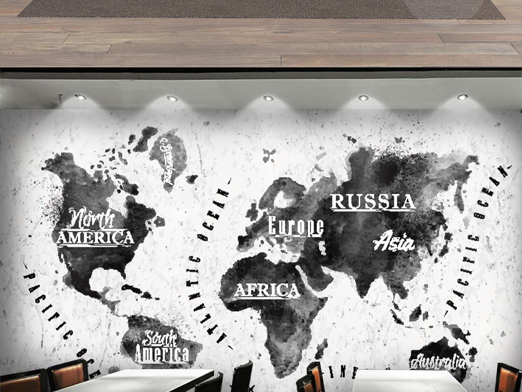 水墨世界地图背景墙