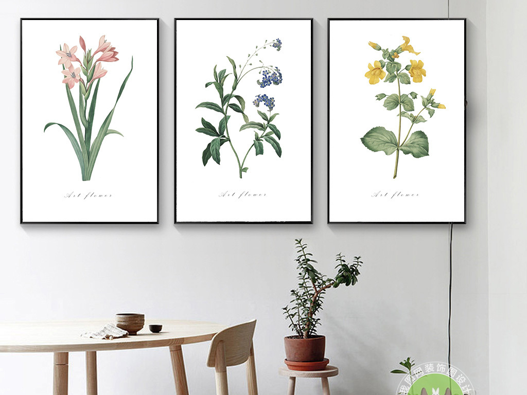 北欧手绘花朵小清新装饰画(图片编号:15767591)
