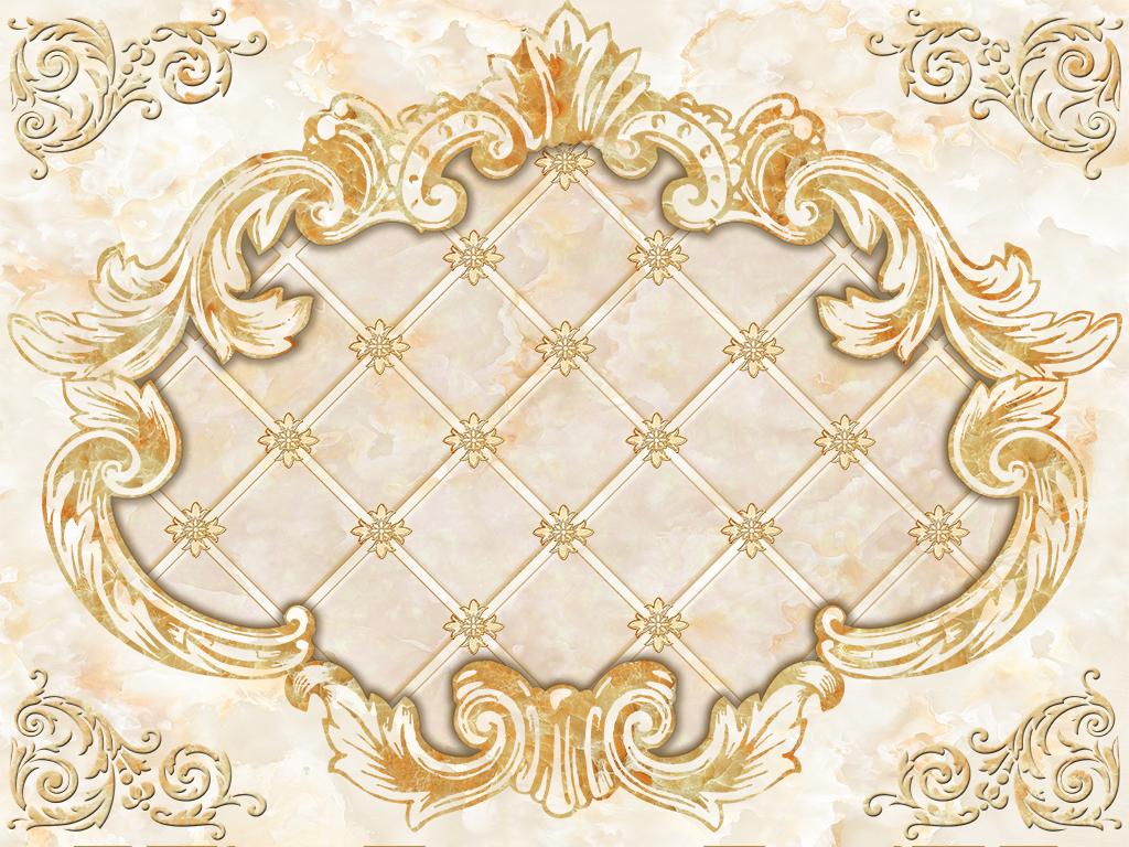 欧式花纹方格菱形雕花大理石纹背景墙雕刻图