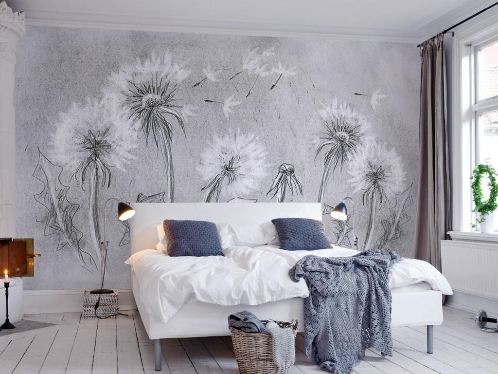 2017复古灰色北欧风格蒲公英电视背景墙