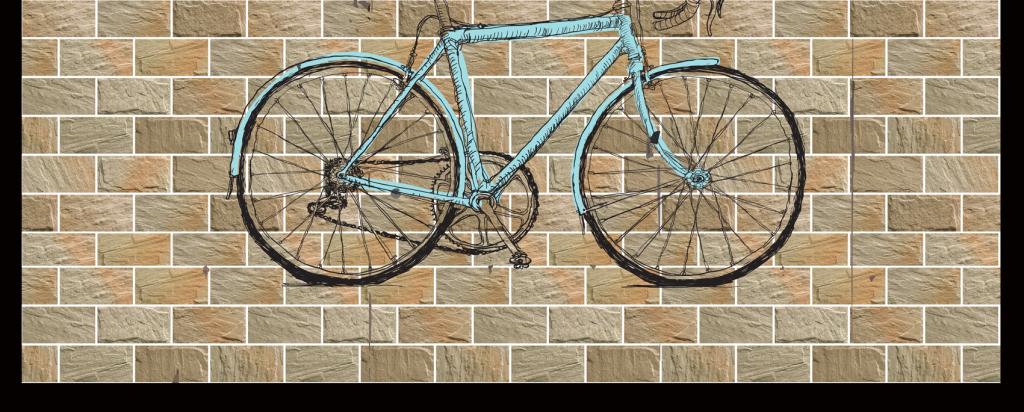 复古自行车电视背景墙