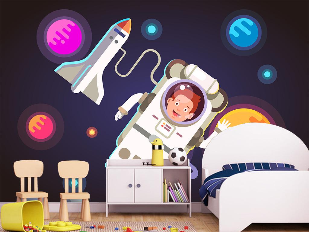 太空旅行电视背景墙装饰画星空3d立体墙