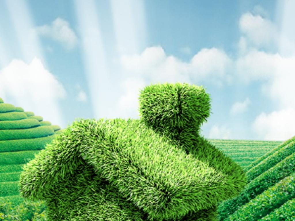 郊外大树底下绿色草房子环保概念创意设计图图片