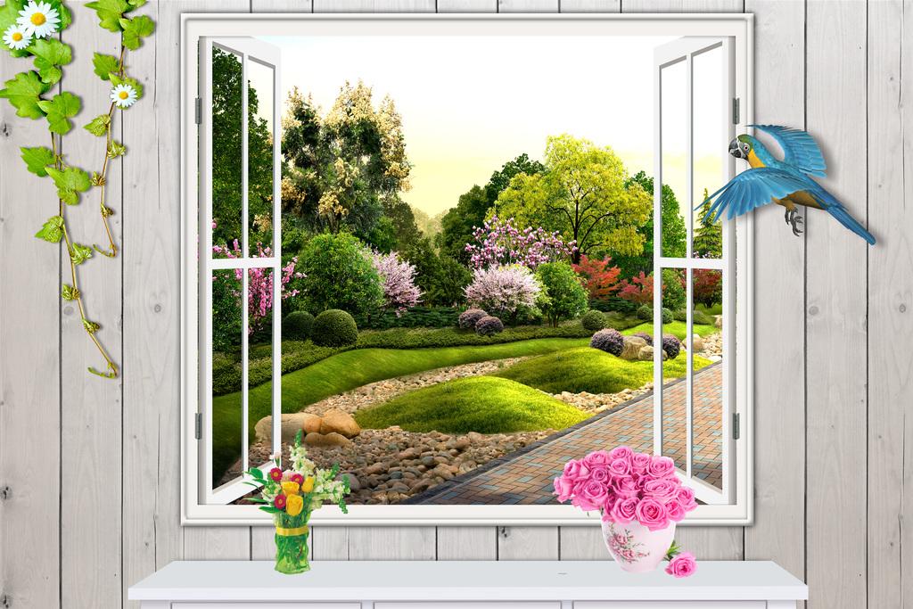 3d立体木板窗户空间拓展园林风景图