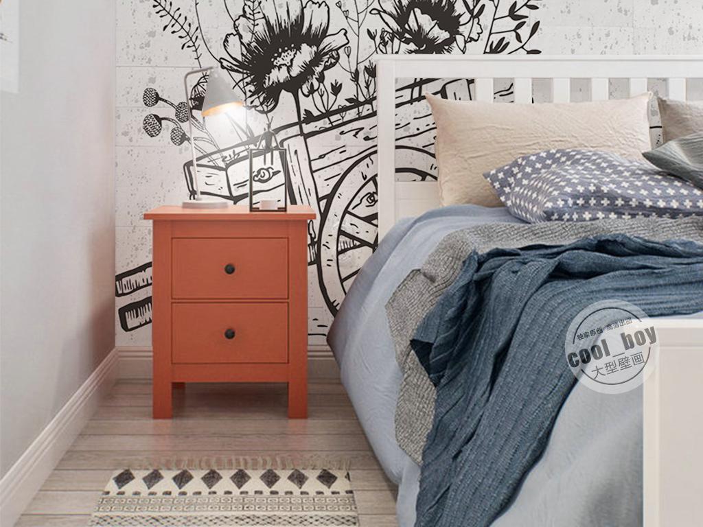 现代北欧简约黑白手绘花卉柳枝蜻蜓背景墙