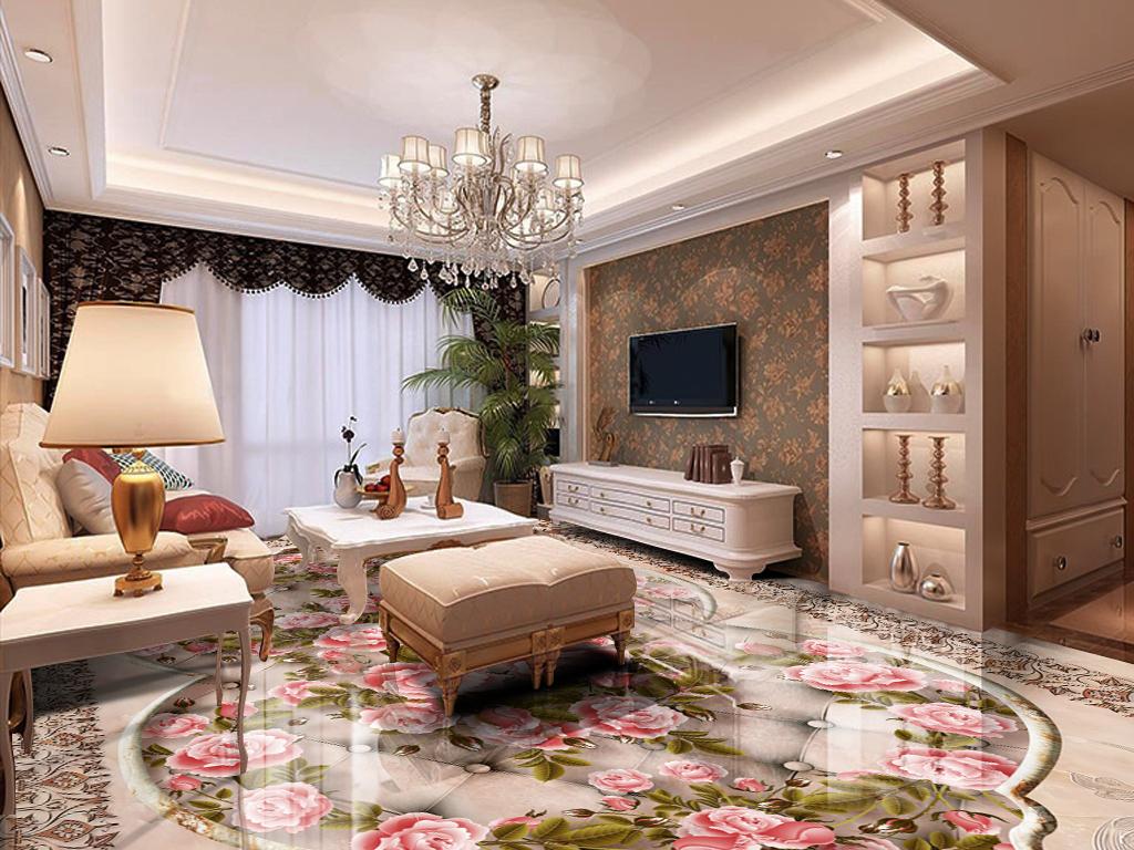 精美欧式花纹大理石玫瑰客厅卧室3d地板