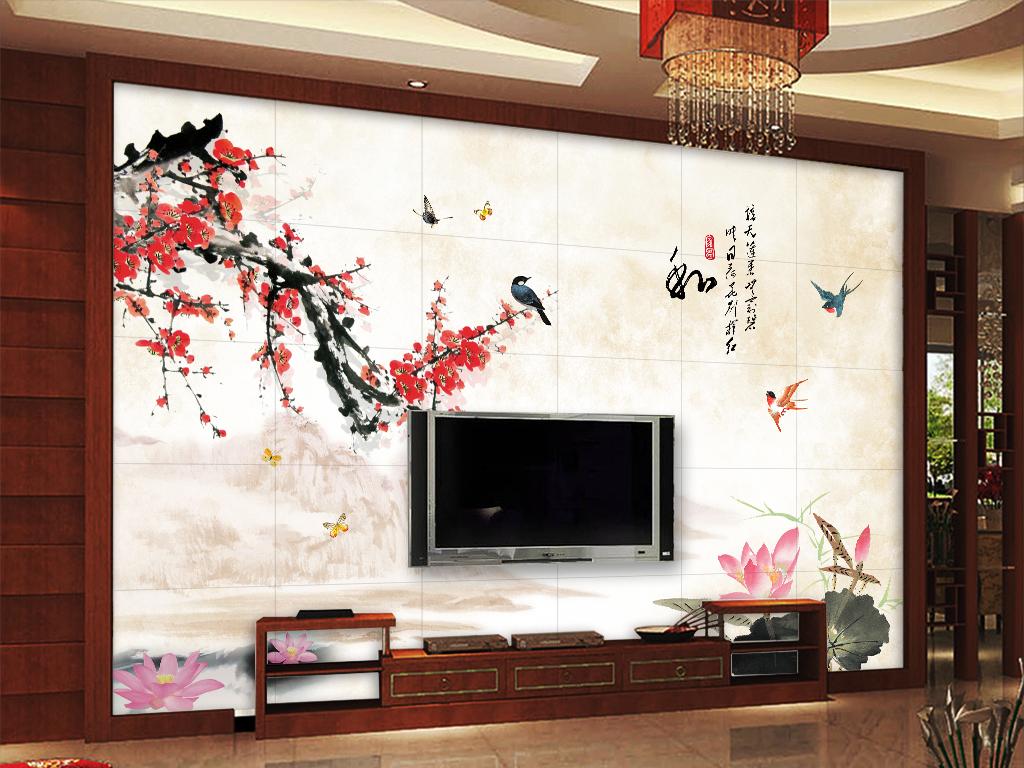 背景墙|装饰画 电视背景墙 中式电视背景墙 > 咏梅梅花山水荷花水墨图片
