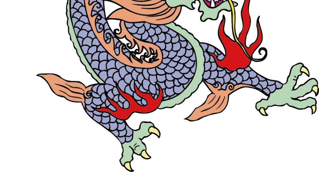 手绘水彩古典插画矢量素材中国龙