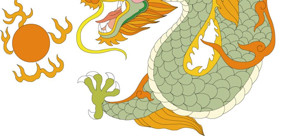 手绘古典插画矢量素材中国龙