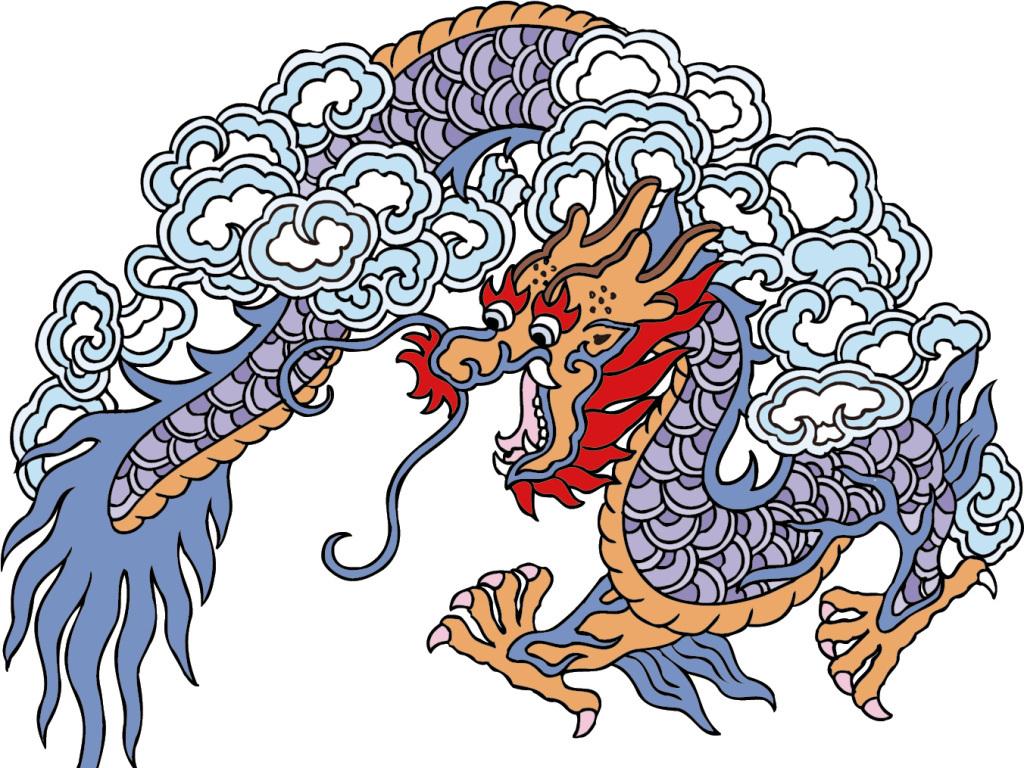 手绘中国龙古典插画矢量素材