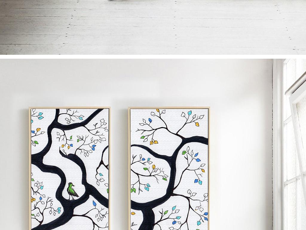 创意手绘大树小鸟四联画