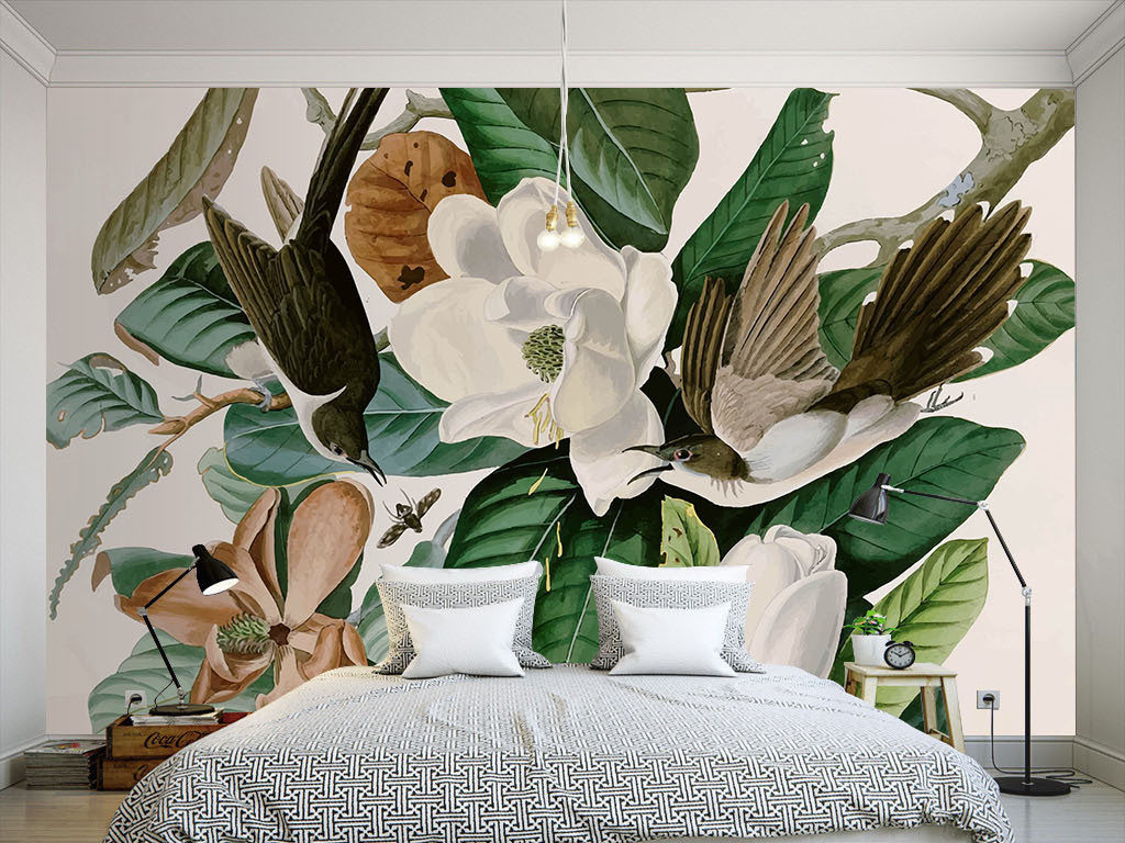 壁纸室内效果图室内装饰室内设计展板室内装饰花鸟手绘美式花鸟欧式