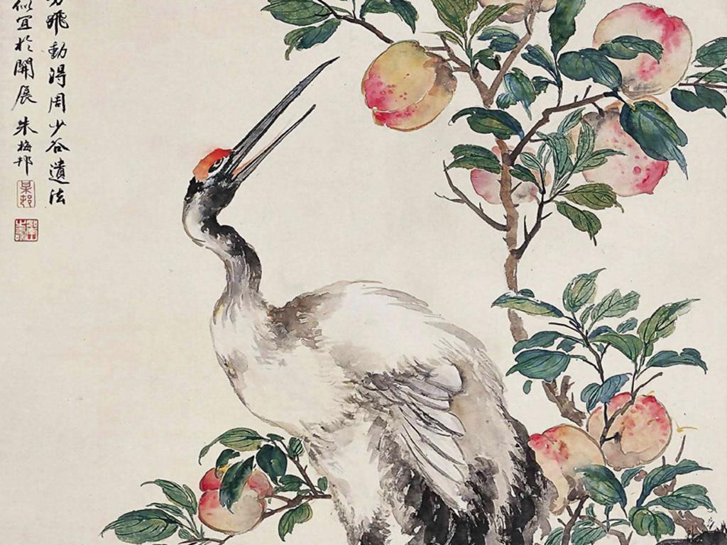 玄关壁画工笔画仙鹤寿桃寿松松鹤