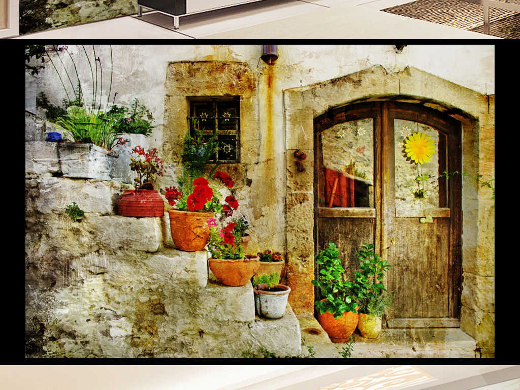 温馨欧式街道鲜花电视背景墙