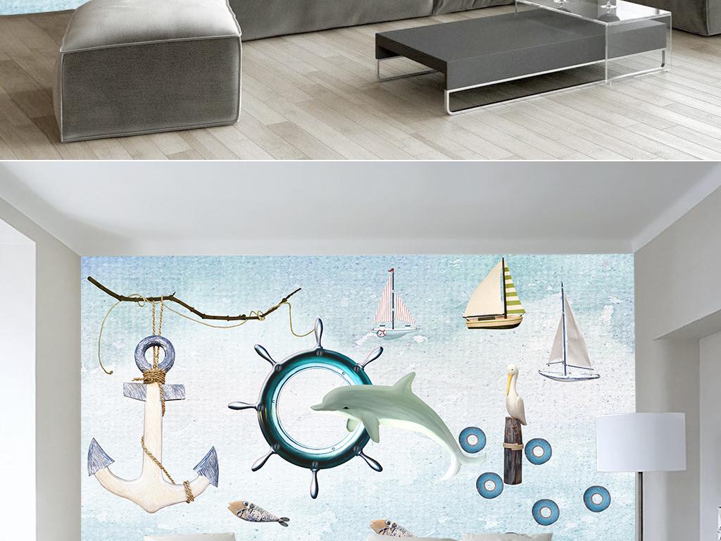背景墙|装饰画 电视背景墙 电视背景墙 > 手绘水墨海豚电视背景墙
