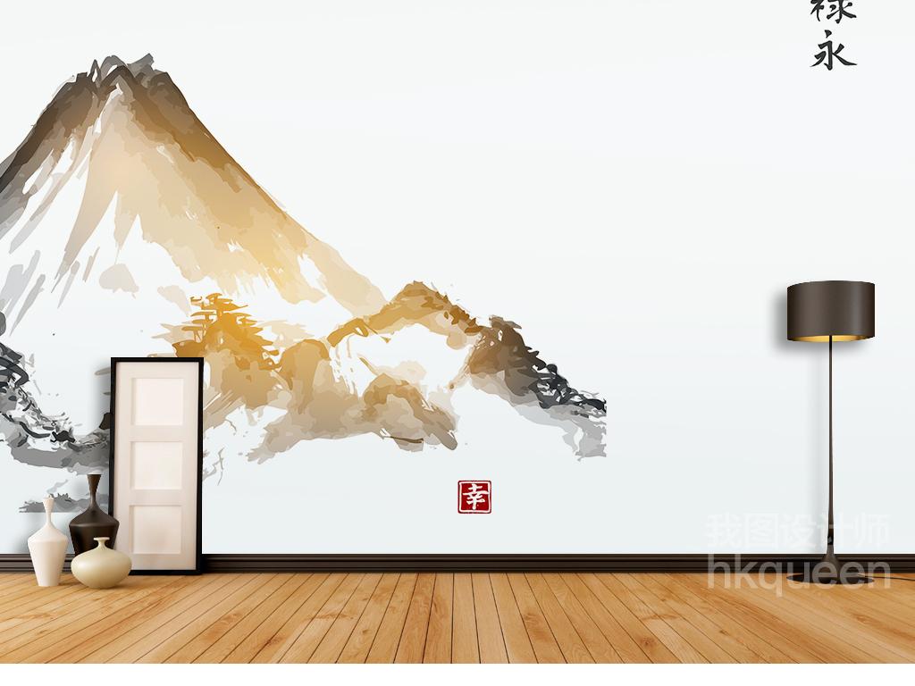 新中式古典水墨山水风景禄永手绘素雅背景墙
