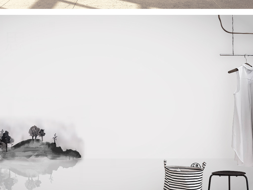 纯手绘电视墙形象墙手绘素雅时尚创意背景墙中式背景墙中式山水画