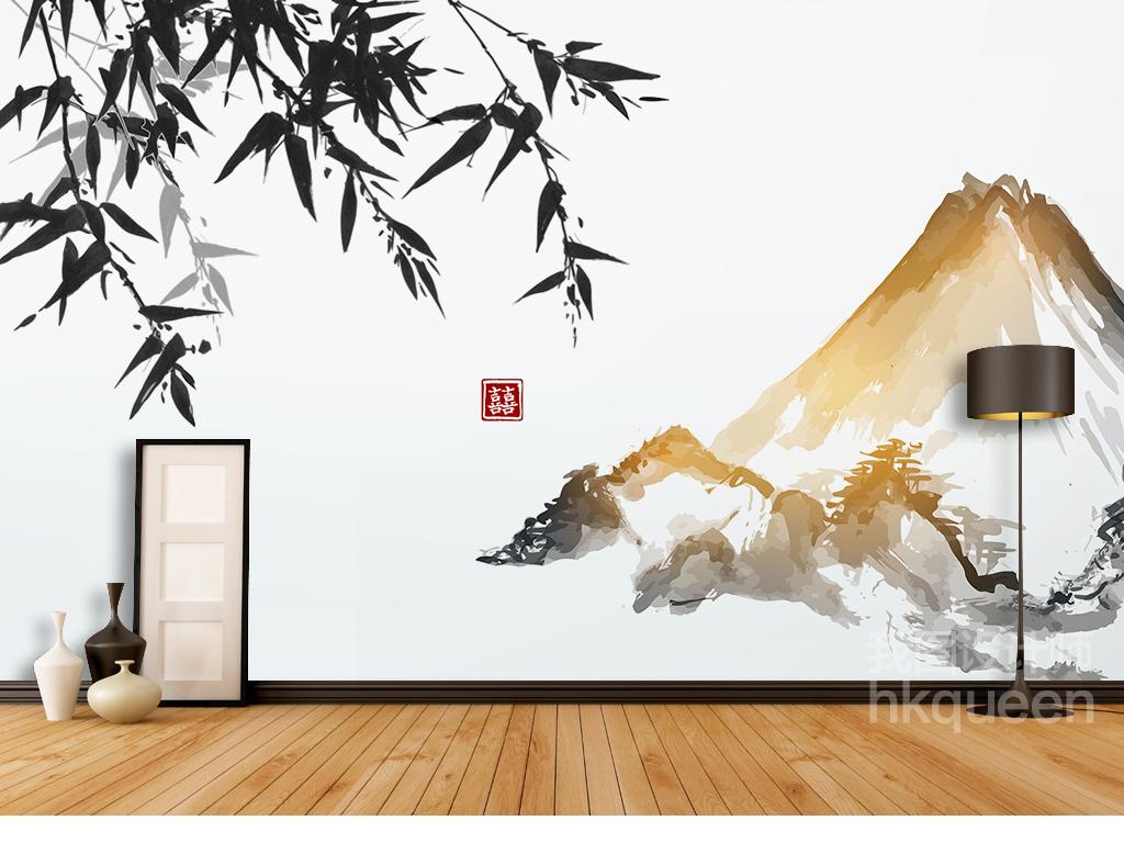 工装背景墙纯手绘电视墙形象墙手绘素雅时尚创意背景墙中式